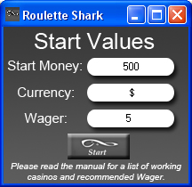 Roulette Shark Start Screen